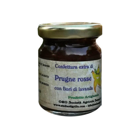 Red plum extra jam with lavender flowers