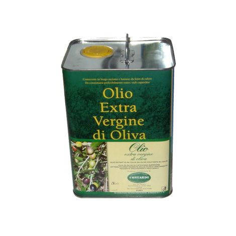 EV olive oil in tin can