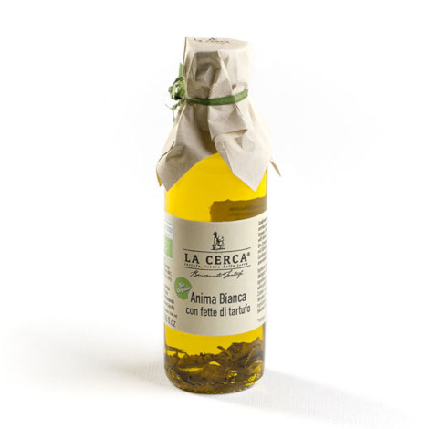 Olive oil with sliced white truffle